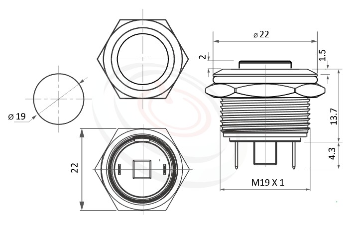 MP19-2MK Series概略尺寸圖,標示金屬防水按鍵開關的外型長度,短款,高面,可客製/雷雕按鍵圖案防水、防破壞、耐腐蝕,對應於GQ19,MPB19,MPS19,MW19,HK19B,HKYB19B,LAS1-BGQ,J19,EJ19,pbm19,cmp,bpb,mp19n,ft-19,lb19b,qn19,LAS1-AGQ,LAS1GQ金屬質感無燈按鈕,材質-鋁機殼,陽極處理外殼,不銹鋼金屬殼