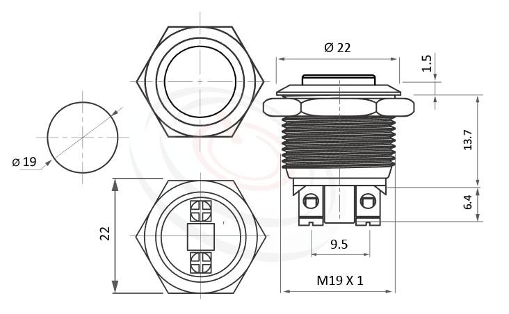 MP19-2MKL Series概略尺寸圖,標示防水 金屬 按鈕 按鍵 按壓 按押的外型長度,短柄,高面,防水防塵防破壞,極致防護防水防暴安全防護,對照於MPB19,MPS19,MW19,HK19B,HKYB19B,pbm19,cmp,bpb,mp19n,J19,EJ19,ft-19,GQ19,LAS1-BGQ,LAS1-AGQ,LAS1GQ,lb19b,qn19金屬外殼不鏽鋼按鈕,材質-SUS,鋁合金,金屬外殼