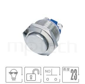 MP19-2MKL Series-防水按鈕開關,螺絲端子,金屬圓型突起按鈕 按鍵 按壓 按押-IP/IK防護,短柄,Φ19 開孔尺寸,一組常開接點1NO,復位無段,高面,金屬按鈕按鍵,高平面金屬不鏽鋼按鈕可同等於MPB19,MPS19,MW19,HK19B,HKYB19B,GQ19,LAS1-BGQ,LAS1-AGQ,LAS1GQ,mp19n,J19,EJ19,ft-19,lb19b,qn19,pbm19,cmp,bpb,材質-外殼金屬,不鏽鋼,不銹鋼,無鎖復歸-IP/IK防護| MP16TECH提供您最完整的防水金屬按鈕開關產品與服務