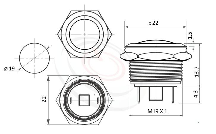MP19-2MR Series概略尺寸圖,標示不鏽鋼防水金屬按鍵的外型長度,短款開關,圓頭弧柄,各式尺寸長度可靈活應用防水、防破壞、耐腐蝕,對應於GQ19,MPB19,MPS19,MW19,HK19B,HKYB19B,LAS1-BGQ,J19,EJ19,pbm19,cmp,bpb,mp19n,ft-19,lb19b,qn19,LAS1-AGQ,LAS1GQ金屬不鏽鋼按鈕,材質-黃銅,鋁合金,不銹鋼