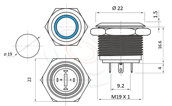 MP19-4MF Series概略尺寸圖,標示天使眼開關,LED雙晶片,正反可接的外型長度,短柄,平面,不凡的操作介面為產品大大加分-IP/IK防護,可對照J19,EJ19,pbm19,cmp,bpb,GQ19,LAS1-BGQ,LAS1-AGQ,LAS1GQ,mp19n,ft-19,lb19b,MPB19,MPS19,MW19,HK19B,HKYB19B,qn19,平面,材質-黃銅鍍鎳,不鏽鋼,鋁合金