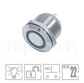 MP19-4MF Series-天使眼開關,短款,扁型,LED雙晶片,正反可接-IP65以上防水等級,短柄,開關尺寸19mm,1NO,無鎖復歸,平面,LED金屬按鈕帶燈,六種燈色可選,電阻內建,天使眼開關,平面環形燈平頭同等於GQ19,LAS1-BGQ,LAS1-AGQ,LAS1GQ,pbm19,J19,EJ19,cmp,bpb,MPB19,MPS19,MW19,HK19B,HKYB19B,mp19n,ft-19,lb19b,qn19,材質-黃銅鍍鎳,不鏽鋼,鋁合金,自複自復 防水、防塵、耐腐蝕| MP16TECH提供您最完整的防水金屬按鈕開關產品與服務