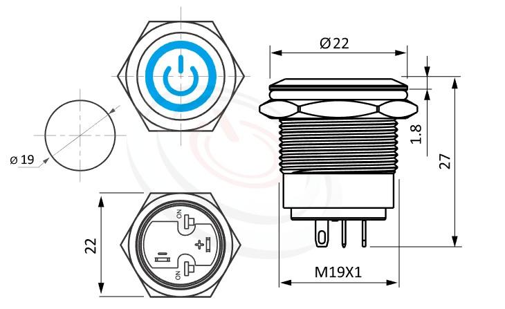 MP19-4ZQ Series概略尺寸圖,標示帶燈金屬按鈕開關,LED雙晶片無極性無方向性的外型長度,短款,小型化,平面,亮眼外觀,引人注目-IP/IK防護,對應pbm19,cmp,bpb,mp19n,ft-19,lb19b,J19,MPB19,MPS19,MW19,HK19B,HKYB19B,qn19,GQ19,LAS1-BGQ,LAS1-AGQ,LAS1GQ,LAS4GQ字符+環形帶燈,材質-黃銅,鋁合金,不銹鋼