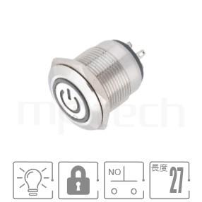 MP19-4ZQ Series-帶燈金屬按鈕開關,LED雙晶片無極性無方向性 防塵防水防化學腐蝕,短款,小型化,19mm尺寸,1NO一組常開接點,有鎖,平面,LED照光金屬開關,六種燈色可選,電源符號加環形,平面電源符號+環形POWER符號+環形可對照於MPB19,MPS19,MW19,HK19B,HKYB19B,GQ19,J19,EJ19,LAS1-BGQ,LAS1-AGQ,LAS1GQ,pbm19,cmp,bpb,mp19n,ft-19,lb19b,qn19,材質-鋁機殼,陽極處理外殼,不銹鋼金屬殼,lock 防水、防塵、耐腐蝕| MP16TECH提供您最完整的防水金屬按鈕開關產品與服務