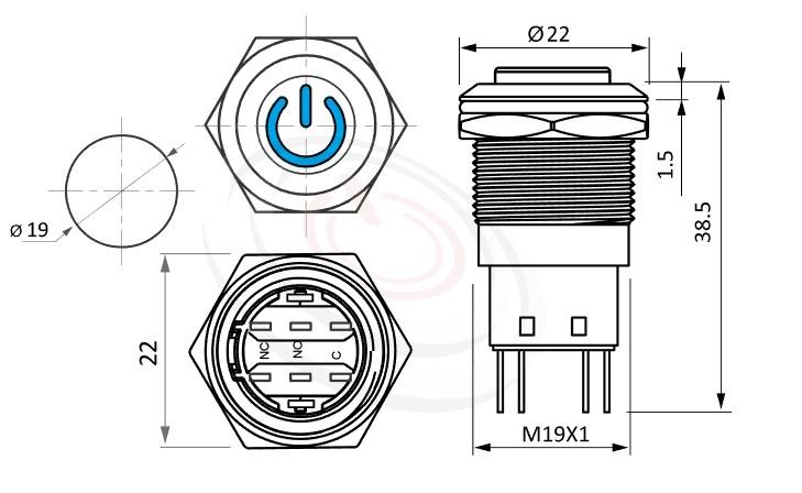 MP19-5ME Series概略尺寸圖,標示LED照光金屬開關,無極性,正反都可接的外型長度,,高圓柄,金屬質感,氣勢非凡防水/防塵/防化學腐蝕,可對照於MPB19,MPS19,MW19,HK19B,HKYB19B,GQ19,J19,EJ19,LAS1-BGQ,LAS1-AGQ,LAS1GQ,pbm19,cmp,bpb,mp19n,ft-19,lb19b,qn19電源開機符號,材質-不鏽鋼,黃銅鍍鎳,鋁合金