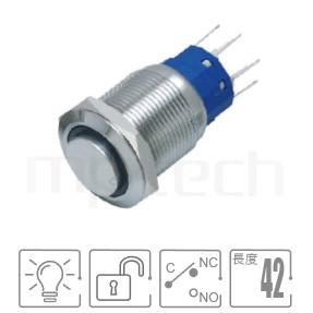 MP19-5MH Series-帶燈金屬按鈕開關,LED雙晶片無極性無方向性 防水、防破壞、耐腐蝕,,19mm孔徑,1NO1NC1COM,無鎖復位,高圓柄, 帶燈 照光式 LED發光金屬開關 LED 燈色, 燈壓5V 6V 12V 24V 110V 220V LED帶燈,環形帶燈,高平面環形燈平鈕可對應於J19,MPB19,MPS19,MW19,HK19B,HKYB19B,EJ19,GQ19,LAS1-BGQ,LAS1-AGQ,LAS1GQ,lb19b,qn19,pbm19,cmp,bpb,mp19n,ft-19,材質-SUS,鋁合金,金屬外殼,自複式回彈防水、防破壞、耐腐蝕| MP16TECH提供您最完整的防水金屬按鈕開關產品與服務