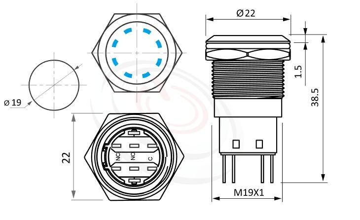 MP19-5MS Series概略尺寸圖,標示天使眼金屬開關,雙晶片LED,雙極性的外型長度,,平鈕,可客製/雷雕按鍵圖案 防水、防破壞、耐腐蝕,同等於GQ19,LAS1-BGQ,LAS1-AGQ,LAS1GQ,pbm19,J19,EJ19,cmp,bpb,MPB19,MPS19,MW19,HK19B,HKYB19B,mp19n,ft-19,lb19b,qn19多點狀帶燈,材質-外殼金屬,不鏽鋼,不銹鋼