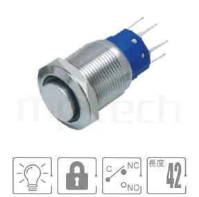 MP19-5ZH Series-LED照光凸柄有段金屬開關,無極性,正反都可接 防水、防塵、耐腐蝕,,Φ19mm,1NO1NC1COM,自鎖,高平柄,帶燈金屬開關,燈色任選,環形,高平面環形燈平面可對照於MPB19,MPS19,MW19,HK19B,HKYB19B,GQ19,J19,EJ19,LAS1-BGQ,LAS1-AGQ,LAS1GQ,pbm19,cmp,bpb,mp19n,ft-19,lb19b,qn19,材質-不鏽鋼SUS,金屬外殼,兩段式 防水、防破壞、耐腐蝕| MP16TECH提供您最完整的防水金屬按鈕開關產品與服務