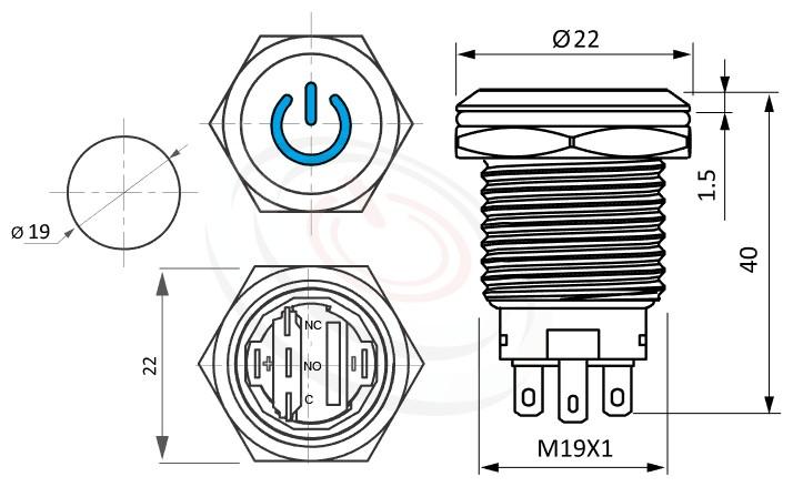 MP19-5ZP Series概略尺寸圖,標示天使眼金屬按鍵按鈕開關,雙極LED燈珠,正反都可接的外型長度,,平面,防水防塵防破壞,極致防護 防塵防水防化學腐蝕,可同等於MPB19,MPS19,MW19,HK19B,HKYB19B,GQ19,LAS1-BGQ,LAS1-AGQ,LAS1GQ,mp19n,J19,EJ19,ft-19,lb19b,qn19,pbm19,cmp,bpb電源開機符號,材質-SUS不鏽鋼,黃銅,鋁殼