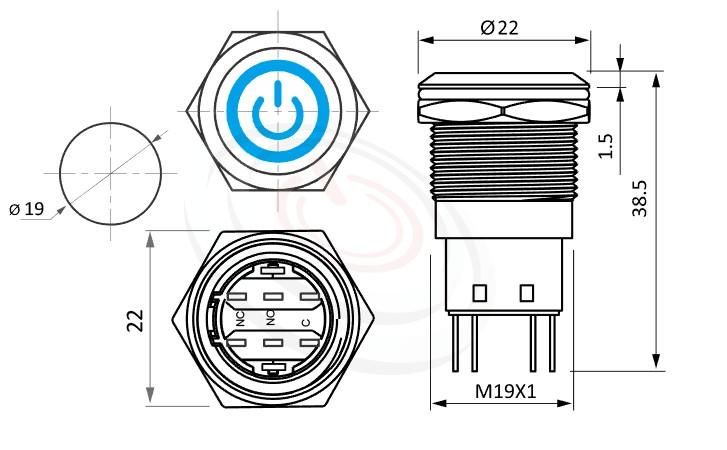 MP19-5ZQ Series概略尺寸圖,標示帶燈LED金屬按鈕,內建LED限流電阻的外型長度,,平頭,給客戶驚豔的第一吸睛印象防水、防破壞、耐腐蝕,相等於ft-19,lb19b,qn19,GQ19,J19,EJ19,LAS1-BGQ,LAS1-AGQ,MPB19,MPS19,MW19,HK19B,HKYB19B,LAS1GQ,pbm19,cmp,bpb,mp19n電源符號加環形,材質-SUS不鏽鋼,黃銅,鋁殼