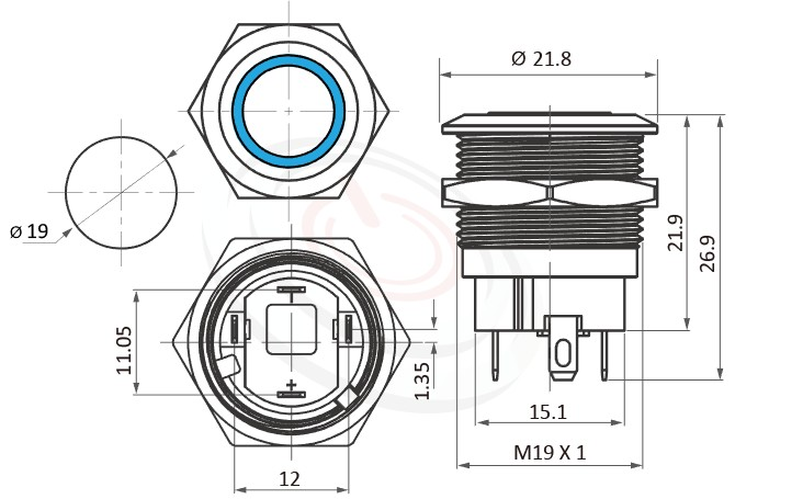 MP19S-4ZF Series概略尺寸圖,標示有段天使眼帶燈金屬按鈕開關,LED雙晶片無極性無方向性的外型長度,短款,小型化,平面,更靈活彈性的燈色燈壓選擇-IP/IK防護,可對照J19,EJ19,pbm19,cmp,bpb,GQ19,LAS1-BGQ,LAS1-AGQ,LAS1GQ,mp19n,ft-19,lb19b,MPB19,MPS19,MW19,HK19B,HKYB19B,qn19,平圓型,材質-鋁機殼,陽極處理外殼,不銹鋼金屬殼
