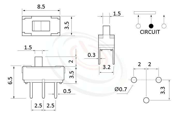 MS-12D16 系列,尺寸圖1P2T,SPDT迴路,Vertical Slide Switch ,立式 迷你滑動開關