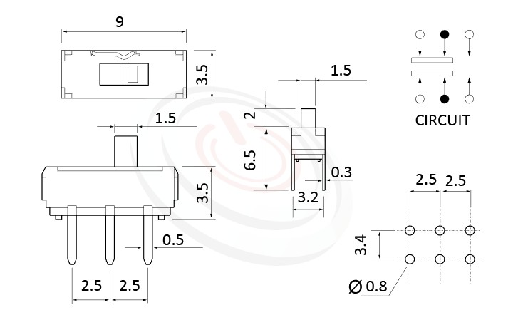 MS-22D16 系列,尺寸圖2P2T,DPDT迴路,迷你滑動開關Mini Slide Switch