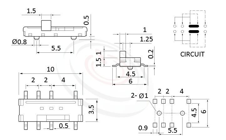 MS-23C01 系列,尺寸圖2P3T,DP3T迴路, 迷你滑動切換開關 Mini Slide Switch
