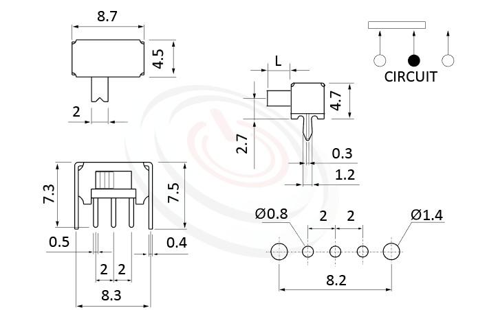 SK-12D02 系列,尺寸圖1P2T,SPDT迴路,臥式滑動開關Slide Switch