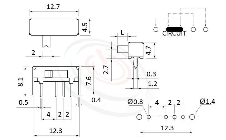 SK-13D01 系列,尺寸圖1P3T,SP3T迴路,滑動切換開關Slide Switch