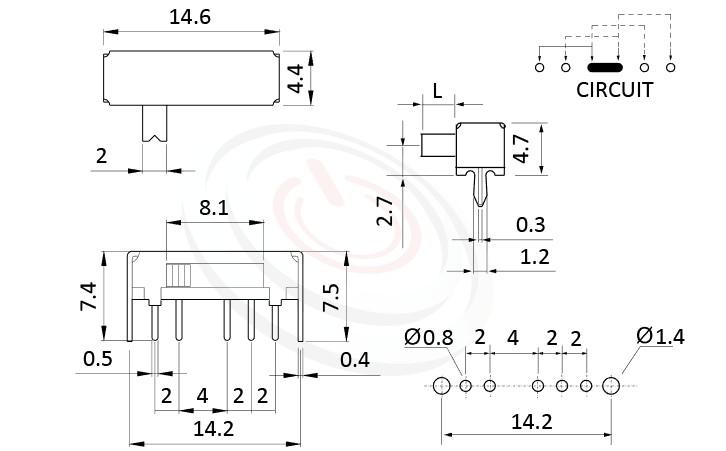 SK-14D02 系列,尺寸圖1P4T,SP4T迴路,滑動開關Slide Switch