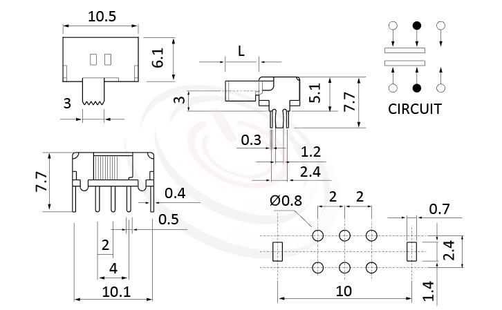 SK-22D02 系列,尺寸圖2P2T,DPDT迴路,撥動開關Slide Switch