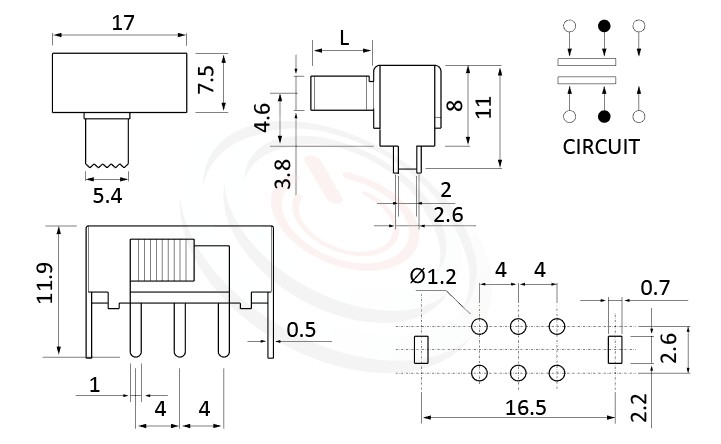SK-22F12 系列,尺寸圖2P2T,DPDT迴路,水平臥式滑動開關Slide Switch