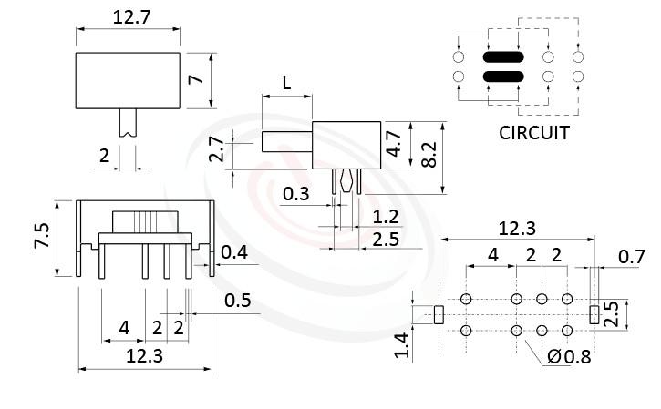 SK-23D07 系列,尺寸圖2P3T,DP3T迴路,臥式滑動開關Slide Switch
