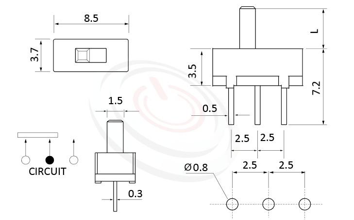 SS-12D01 系列,尺寸圖1P2T,SPDT迴路,滑動切換開關Slide Switch
