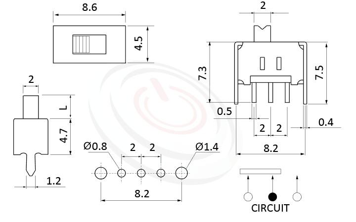 SS-12D02 系列,尺寸圖1P2T,SPDT迴路,滑動切換開關Slide Switch