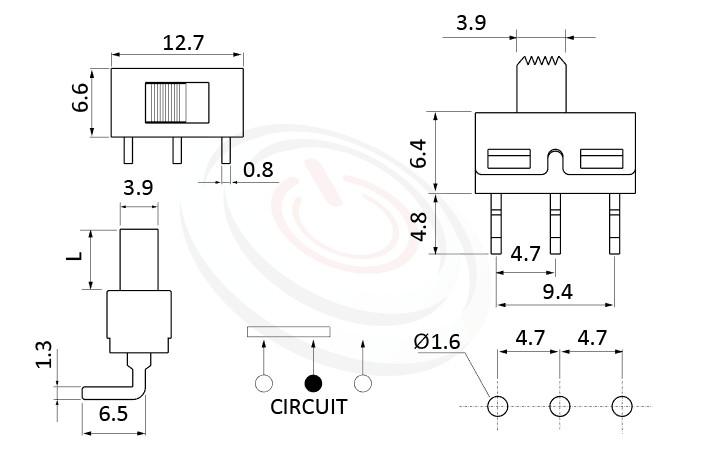SS-12D06 系列,尺寸圖1P2T,SPDT迴路,Vertical Slide Switch ,立式滑動開關