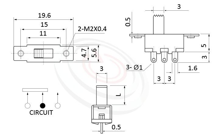 SS-12F16 系列,尺寸圖1P2T,SPDT迴路,Vertical Slide Switch ,立式撥動開關