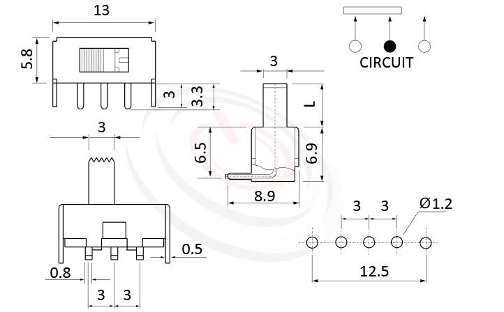 SS-12F23 系列,尺寸圖1P2T,SPDT迴路,滑動開關Slide Switch