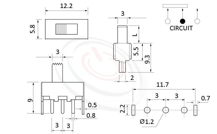 SS-12F45 系列,尺寸圖1P2T,SPDT迴路,直腳滑動開關Slide Switch