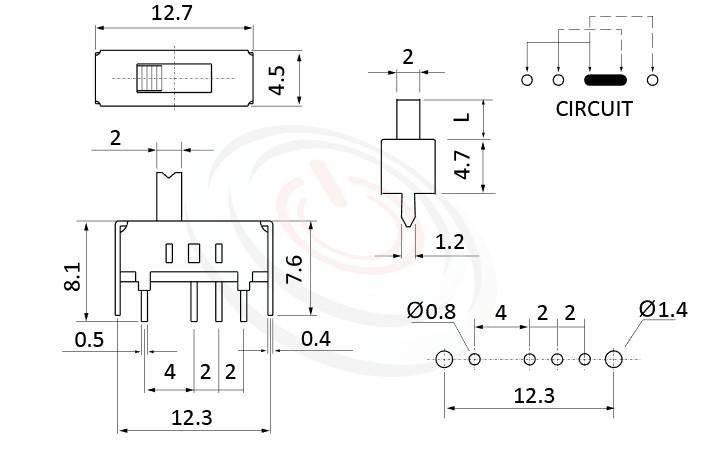SS-13D01 系列,尺寸圖1P3T,SP3T迴路,Vertical Slide Switch ,立式滑動開關