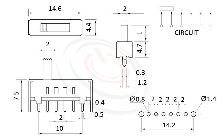 SS-14D01 系列,尺寸圖1P4T,SP4T迴路,Vertical Slide Switch ,立式滑動開關