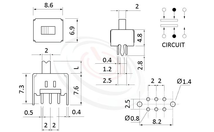 SS-22D03 系列,尺寸圖2P2T,DPDT迴路,Vertical Slide Switch ,立式滑動開關