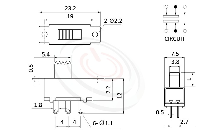 SS-22F32 系列,尺寸圖2P2T,DPDT迴路,滑動開關Slide Switch