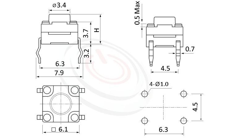 WTS-06P1 Series 概略尺寸圖,標示產品: 6x6,DIP插件型,Tact Switch的外型尺寸圖,迅速從圖片確認零件外觀尺寸。 WTS-06P1規格包含: 6x6,DIP插版型,圓柄,直立,H高度:4.3mm~19mm,防水,IP67防水。觸鍵開關小型化的輕觸開關,短行程,使用壽命長,開關壽命區間落在30萬次、50萬次、100萬次...