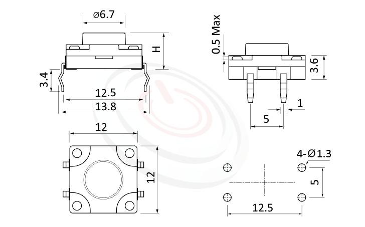 WTS-12P3 Series 概略尺寸圖,標示產品: 12x12,DIP插版型,Tact Switch的外型尺寸圖,迅速從圖片確認零件外觀尺寸。 WTS-12P3規格包含: 12x12,DIP包裝,圓柄,立式,H高度:4.3mm~21mm,防水,IP67防水。觸動開關可廣泛使用在雲端裝置、智能家居、家電業、健康醫療產品業、工控安全系統及通訊業等IOT相關產業