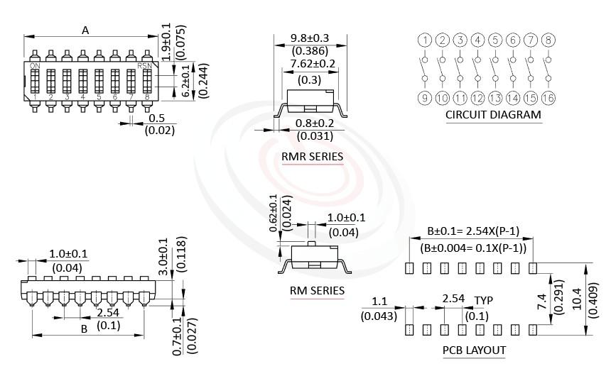 DIP-RM 尺寸圖, 面板尺寸Pitch 2.54mm,指撥開關DIP Switch ,Pitch 2.54mm,01~12 Positions ,SMD