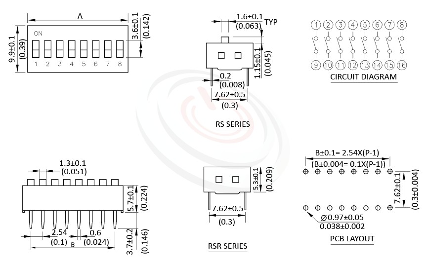 DIP-RS 尺寸圖, 面板尺寸Pitch 2.54mm,指撥開關DIP Switch ,Pitch 2.54mm,01~12 Positions ,DIP