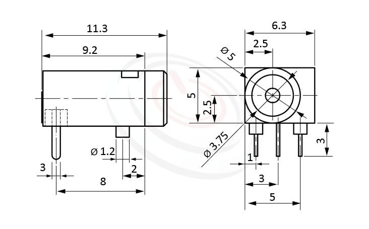 HDC-522系列 尺寸圖 DC電源插座DC POWER JACK ,Center pin Ø1.3 mm 中心針 Ø1.3 mm ,外圓 孔徑 5 ,90度 90° DIP