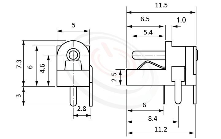 HDC-526系列 尺寸圖 直流電源插座DC POWER JACK ,Center pin Ø1.0 / Ø1.3 mm 中心針 Ø1.0 / Ø1.3 mm ,外圓 孔徑 ,90度 90° DIP