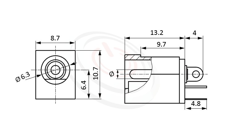 HDC-546系列 尺寸圖 直流電源插座DC POWER JACK ,Center pin Ø2.0 / Ø2.5 mm 中心針 Ø2.0 / Ø2.5 mm ,外圓 孔徑 6.3 ,180度 180° DIP