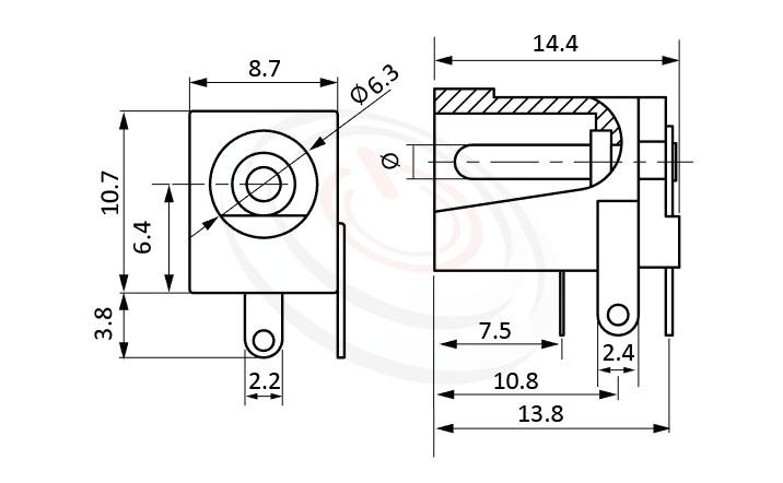 HDC-549系列 尺寸圖 DC電源插座DC POWER JACK ,Center pin Ø2.0 / Ø2.5 mm 中心針 Ø2.0 / Ø2.5 mm ,外圓 孔徑 6.3 ,90度 90° DIP