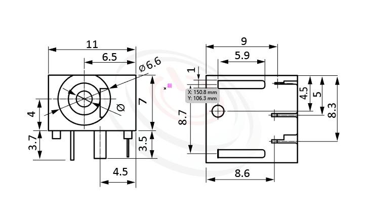 HDC-558系列 尺寸圖 DC電源插座DC POWER JACK ,Center pin Ø2.0 / Ø2.5 mm 中心針 Ø2.0 / Ø2.5 mm ,外圓 孔徑 6.6 ,90度 90° DIP