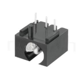 HDC-558 系列-DC電源插座DC POWER JACK ,90度 90° DIP ,Center pin Ø2.0 / Ø2.5 mm 中心針 Ø2.0 / Ø2.5 mm ,外圓 孔徑 6.6 ,L 11.5 x W 11 x H 7 ,板上高度 7mm