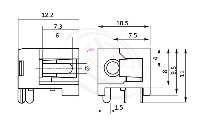 HDC-562系列 尺寸圖 DC電源插座DC POWER JACK ,Center pin Ø2.0 / Ø2.5 mm 中心針 Ø2.0 / Ø2.5 mm , ,90度 90° DIP