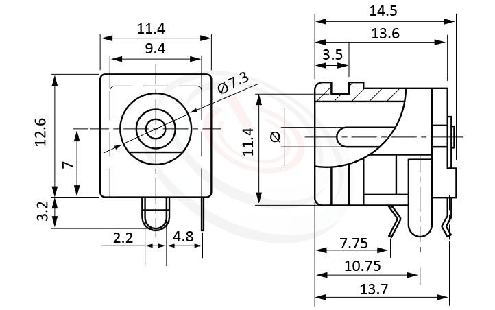 HDC-563系列 尺寸圖 直流電源插座DC POWER JACK ,Center pin Ø2.0 / Ø2.5 / Ø2.95 mm 中心針 Ø2.0 / Ø2.5 / Ø2.95 mm ,外圓 孔徑 7.3 ,90度 90° DIP