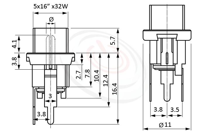 HDC-565系列 尺寸圖 DC電源插座DC JACK ,Center pin Ø2.0 / Ø2.5 mm 中心針 Ø2.0 / Ø2.5 mm ,外圓 孔徑 8.1 ,180度 180° DIP