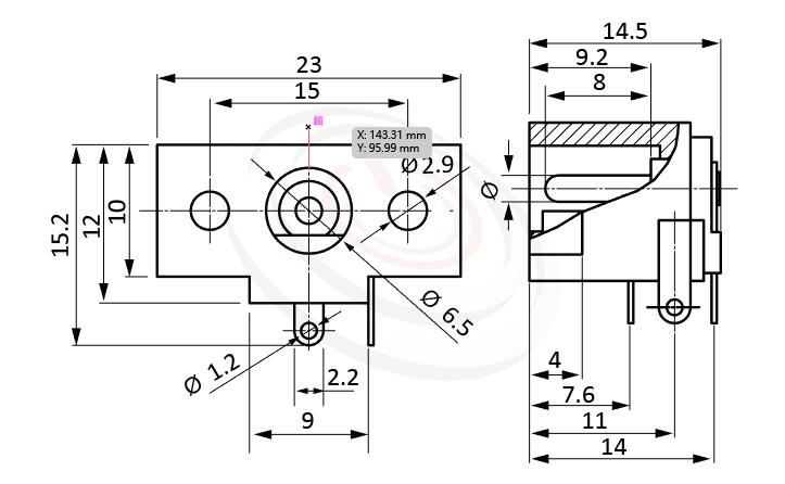 HDC-568系列 尺寸圖 DC電源插座DC JACK ,Center pin Ø2.0 / Ø2.5 mm 中心針 Ø2.0 / Ø2.5 mm ,外圓 孔徑 6.5 ,90度 90° DIP