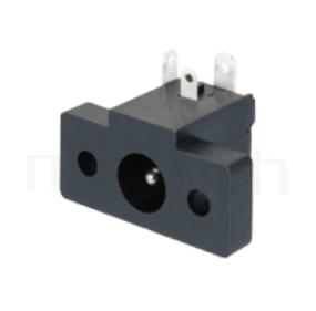 HDC-568 系列-直流電源插座DC JACK ,90度 90° DIP ,Center pin Ø2.0 / Ø2.5 mm 中心針 Ø2.0 / Ø2.5 mm ,外圓 孔徑 6.5 ,L 15 x W 23 x H 10 ,板上高度 10mm