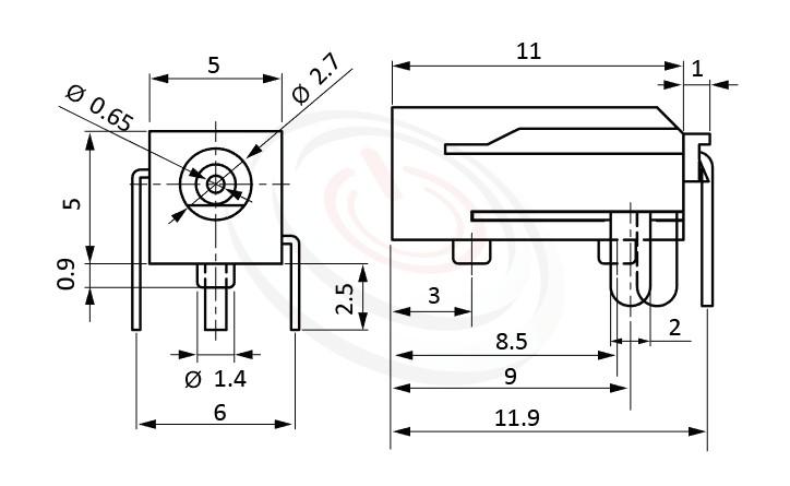 HDC-582系列 尺寸圖 DC電源插座DC POWER JACK ,Center pin Ø0.65 mm 中心針 Ø0.65 mm ,外圓 孔徑 2.7 ,90度 90° DIP